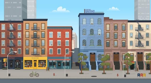 상점이있는 도시 건물 주택 : 부티크, 카페, 서점. 스타일 그림입니다. 게임 및 모바일 애플리케이션의 배경. 프리미엄 벡터