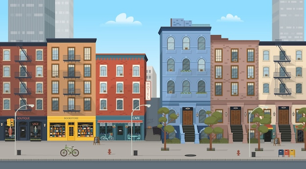 City building houses with shops: boutique, cafe, bookstore. illustration in  style. background for