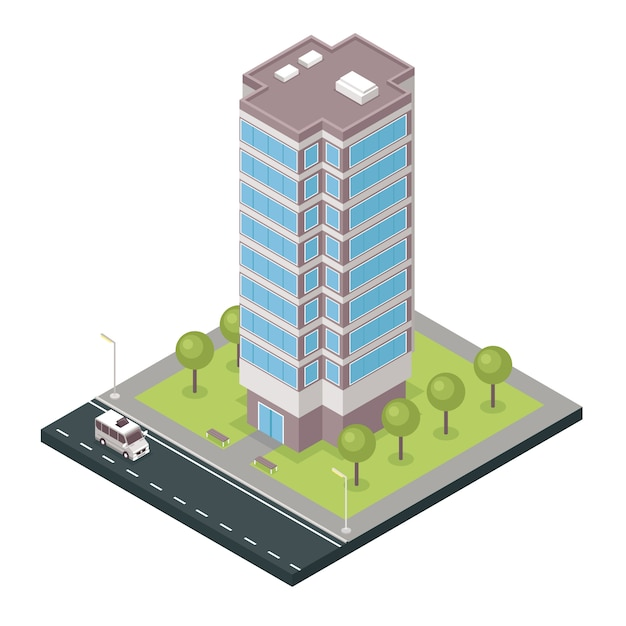 City building isometric icon Free Vector