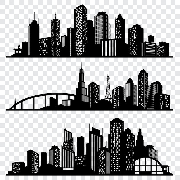 City building vector silhouettes, urban vector skylines set Premium Vector