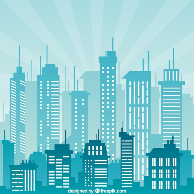 City buildings in blue color | Free Vector