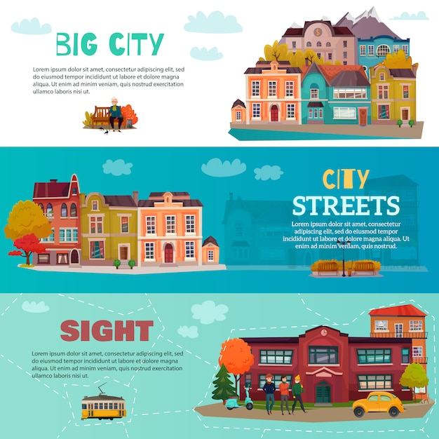 City buildings horizontal  banner set set Free Vector