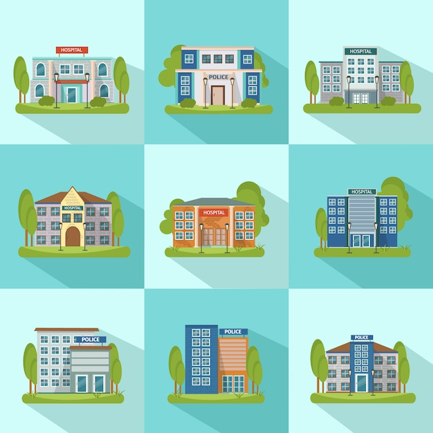 City buildings icon set Free Vector