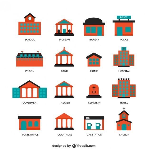 City buildings icons Premium Vector