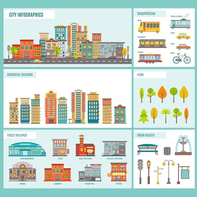 都市の建物のインフォグラフィック 無料ベクター