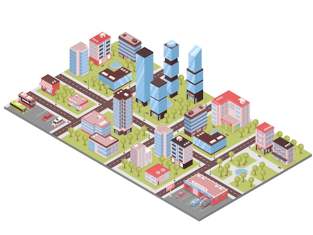 City buildings isometric composition Free Vector
