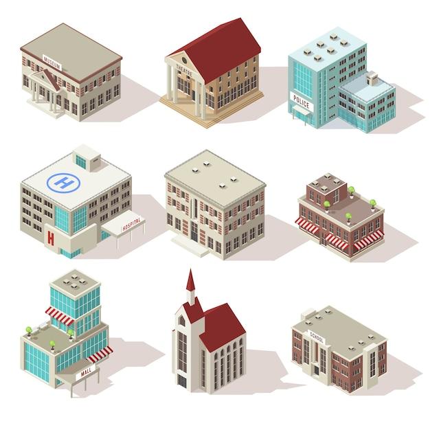 Набор изометрических иконок зданий города Бесплатные векторы