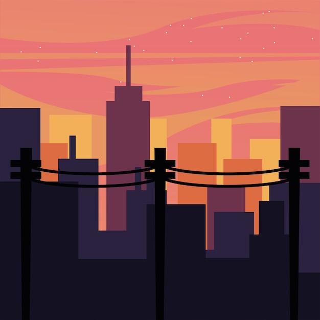 Пейзаж городских зданий с дизайном розового неба, абстрактная геометрическая архитектура и иллюстрация городской темы Premium векторы