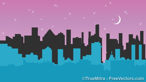 City buildings under the moon Free Vector