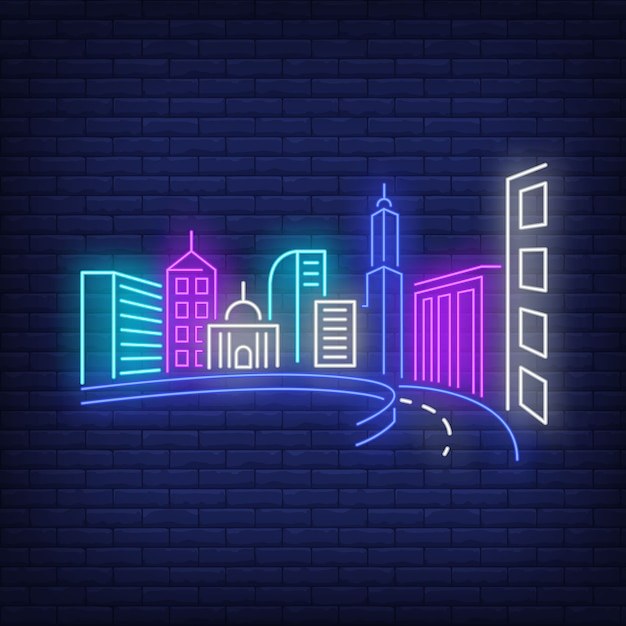 City buildings and road neon sign. Free Vector