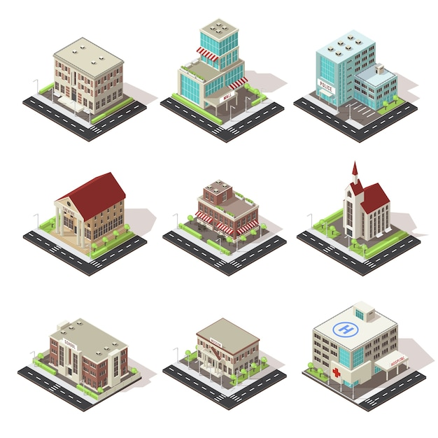 City buildings and roads isometric icons set Free Vector