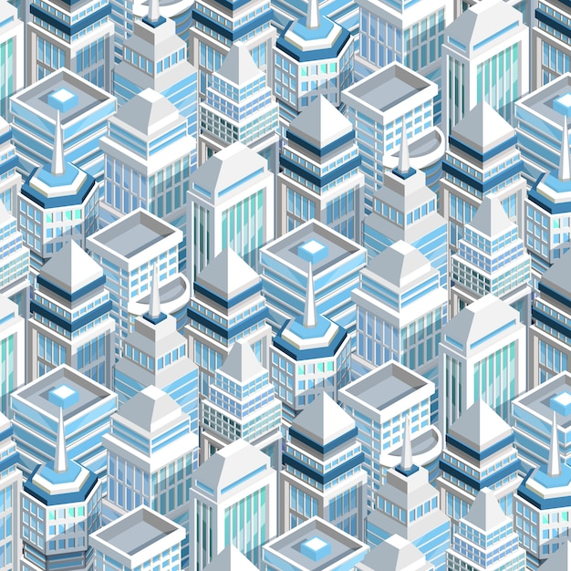 City buildings seamless pattern Free Vector