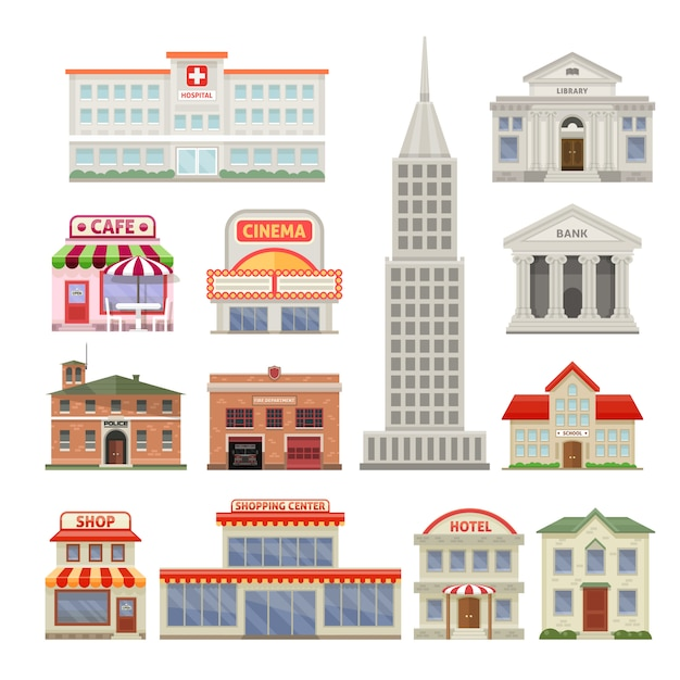 City buildings set with administrative and residential constructions hotel cafe and cinema isolated vector illustration Free Vector