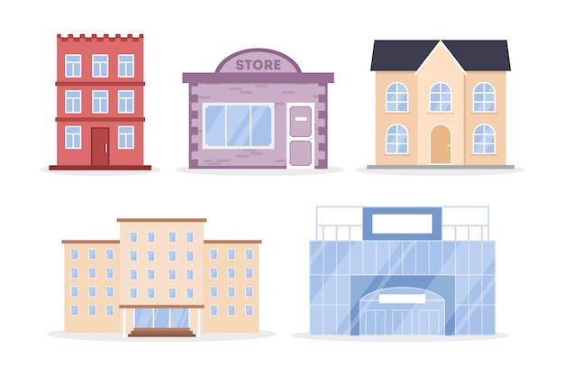 都市の建物セット 無料ベクター