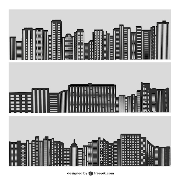 City buildings silhouettes in grey | Free Vector