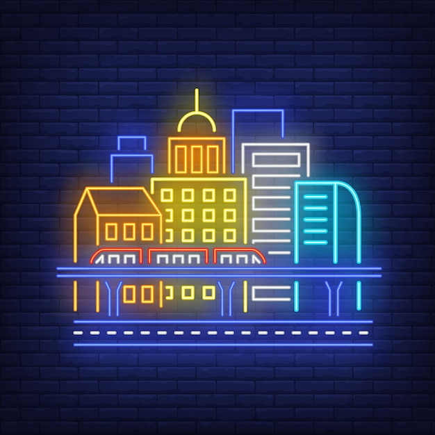 City buildings and sky train neon sign. Free Vector