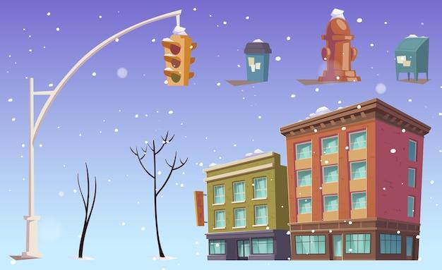 Edifici della città, semafori, cestini per rifiuti stradali, alberi e neve che cade. Vettore gratuito