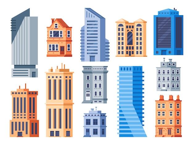 Городские здания. городской офис экстерьер, жилой дом и жилой дом изолированные иконки набор Premium векторы