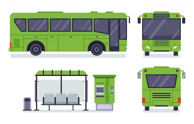 시내 버스. 대 중 교통 정류장, 자동 버스 매표소 및 버스 그림 세트 프리미엄 벡터