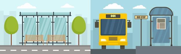 City bus stop banner set Premium Vector