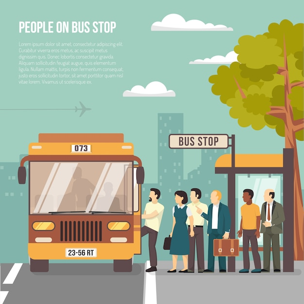 City bus stop flat poster Free Vector