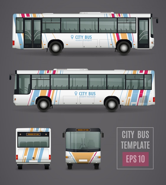 City bus template in realistic style Free Vector