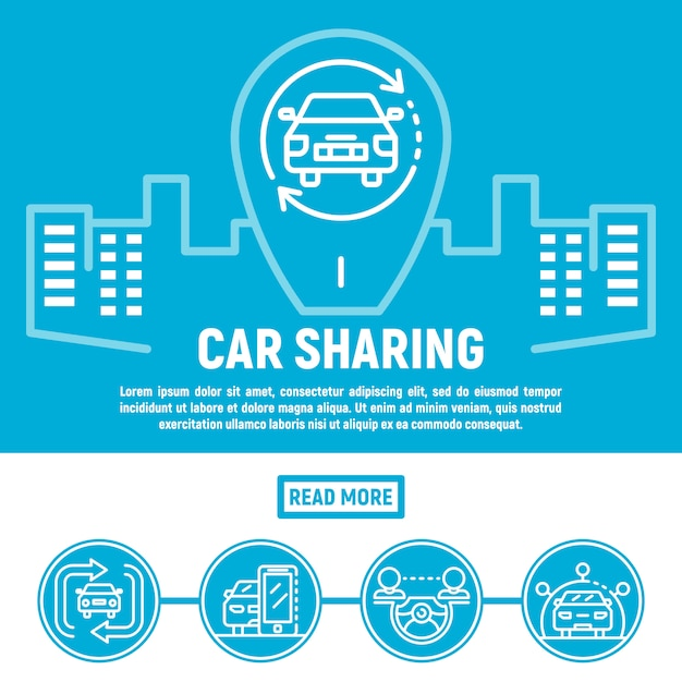 City car sharing banner, outline style Premium Vector