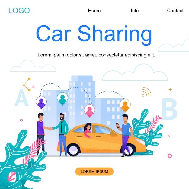 Веб-шаблон целевой страницы. city car sharing. таун каб бизнес. Premium векторы