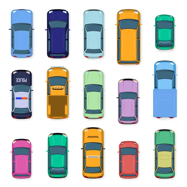 シティカーのトップビュー。市内の交通車の屋根、路上タクシー、警察、サブコンパクト、ジープの車。自動輸送イラストセット。上からの車両 Premiumベクター