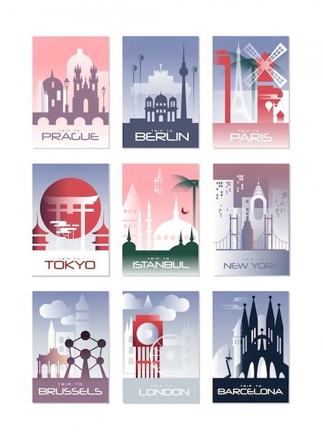 City cards set, landscape template of flyer, poster, book cover, banner, berlin, paris, tokyo, istanbul, brussels, new york, london, barcelona  illustrations Premium Vector
