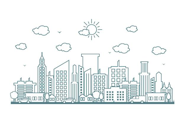 City cityscape skyline street road line design illustration Premium Vector