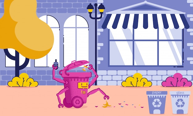 City cleaning application and equipment cartoon. Premium Vector