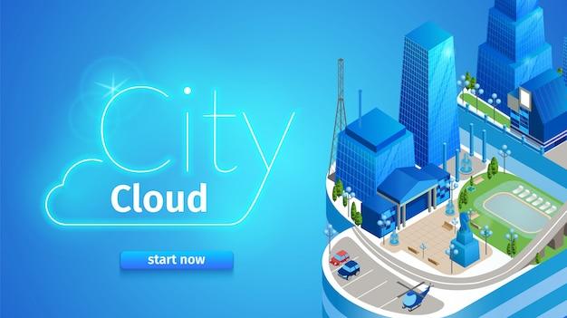 City cloud horizontal banner. futuristic cityscape Premium Vector