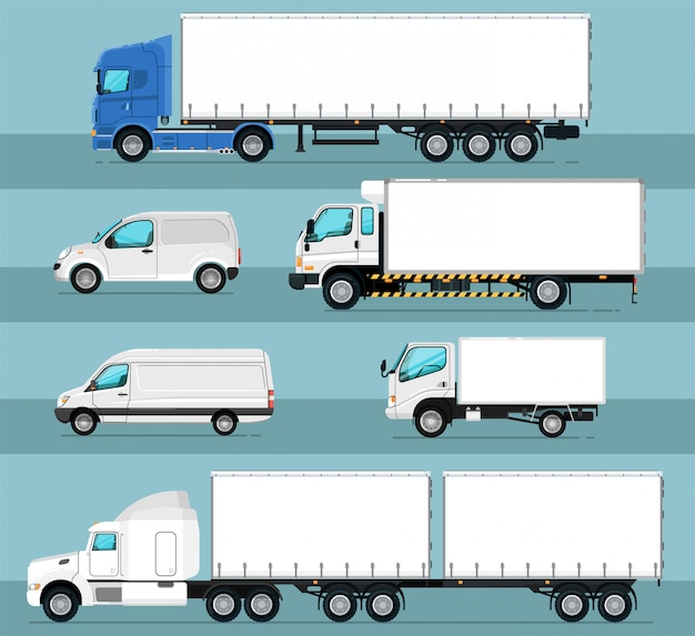 City commercial transport isolated set Premium Vector