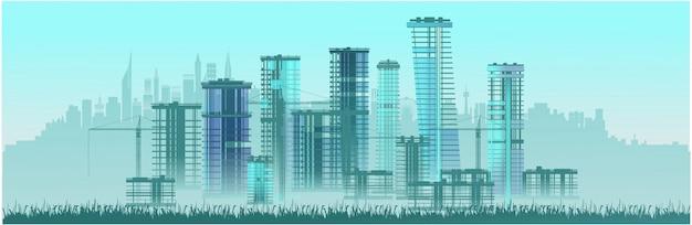 City construction high-rise buildings. Premium Vector