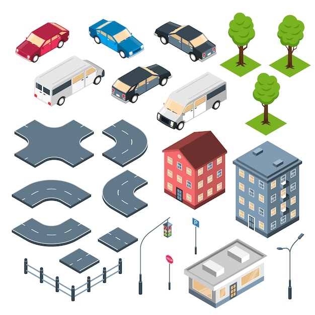 City constructor isometric set with road elements crossroad town buildings and cars isolated Free Vector