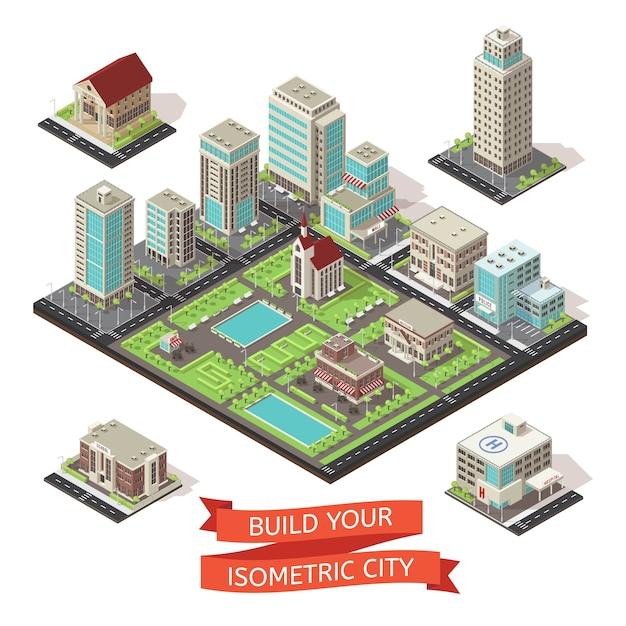 Set isometrico di creazione di città Vettore gratuito