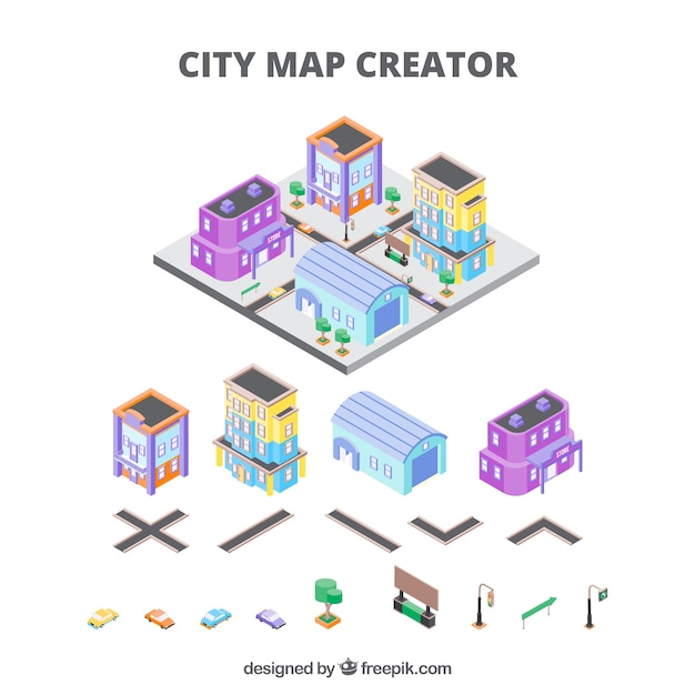 City Creator In Isometric View Vector Free Download