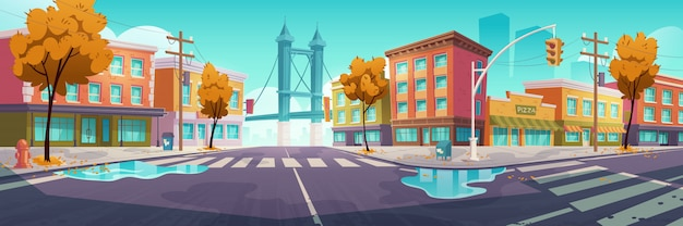 City crossroad in autumn time Free Vector