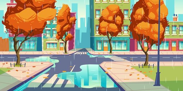 Городской перекресток в осеннее время, пустой перекресток Бесплатные векторы
