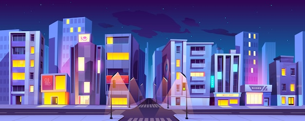 City crossroad at night, transport intersection Free Vector