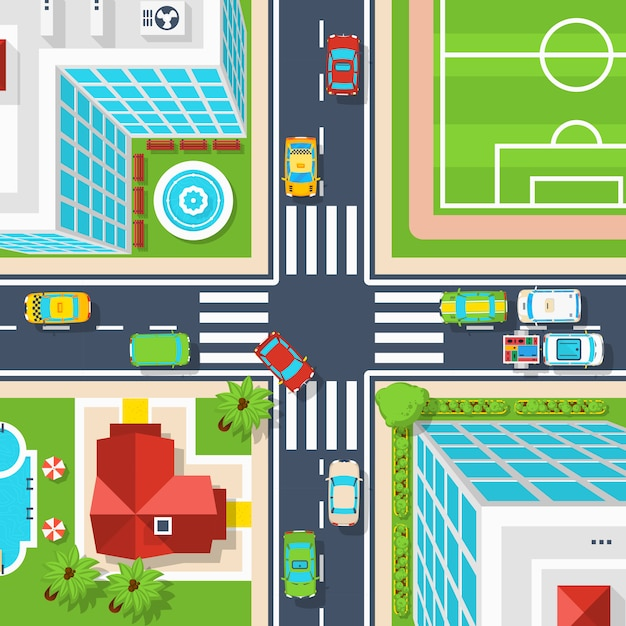 City crossroad top view Free Vector