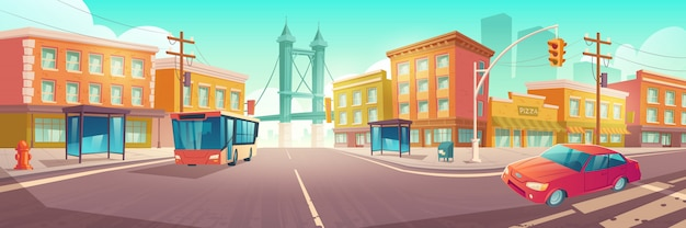 City crossroad with bus and car on intersection Free Vector