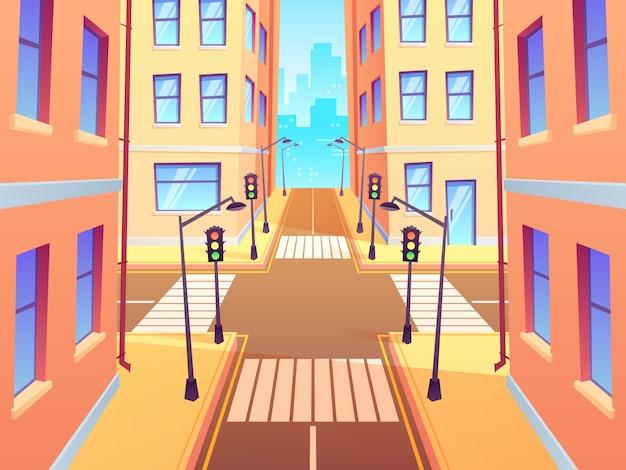 Городской перекресток с пешеходным переходом. городские перекрестки светофора, перекресток улиц города и иллюстрации шаржа дорожного развязки Premium векторы