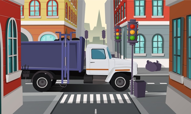 City crossroads with rubbish truck. car with trash, municipal service. Free Vector