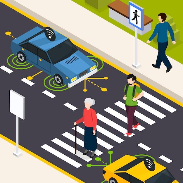 都市横断歩道等尺性 無料ベクター