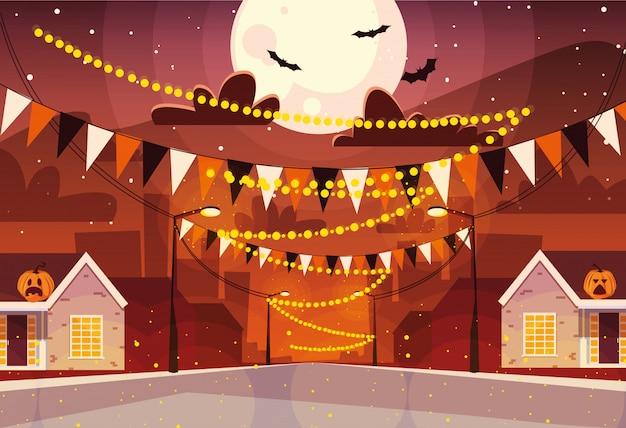 City decorated for halloween celebration Premium Vector