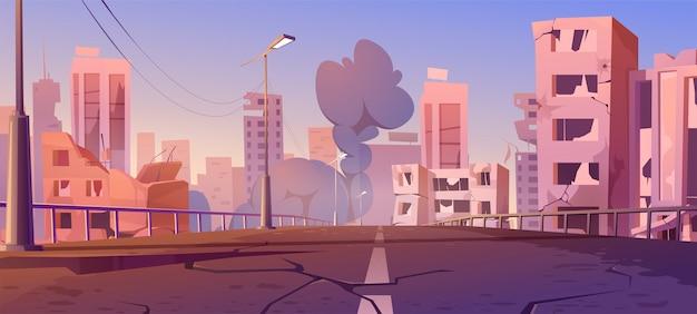 Город разрушают в зоне боевых действий, заброшенные здания и мост с дымом. катаклизм, стихийное бедствие или руины постапокалиптического мира с разбитой дорогой и улицей, карикатура Бесплатные векторы