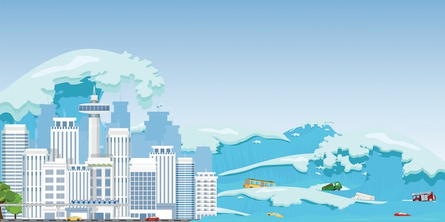 City destroyed by tsunami waves. Premium Vector