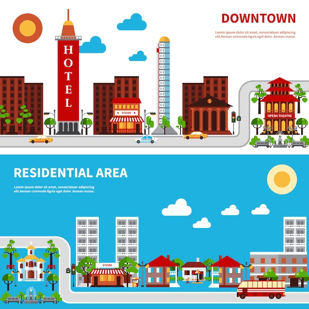 City districts banners Free Vector